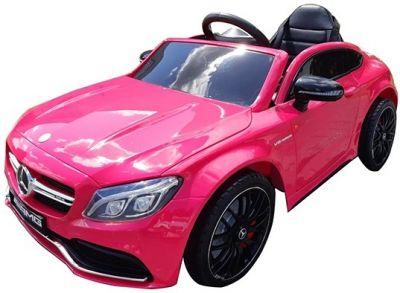 Elektrische Kinderauto Mercedes C63s-AMG Roze Metallic 12V Rubber Banden