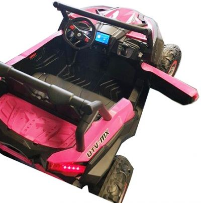Accu Auto Mega Buggy 4X4 24V 2 Persoons Roze MP4 Rubber Band-4