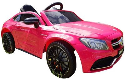 Accu Auto Mercedes C63s-AMG Roze Metallic 12V Rubber Banden-3