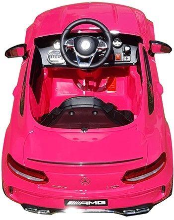Accu Auto Mercedes C63s-AMG Roze Metallic 12V Rubber Banden-4