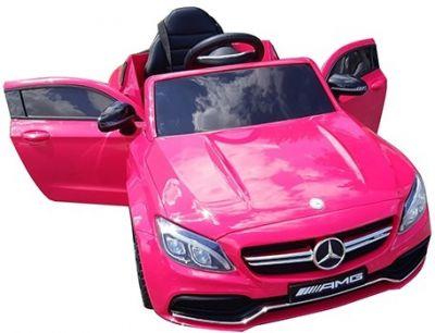 Accu Auto Mercedes C63s-AMG Roze Metallic 12V Rubber Banden-7