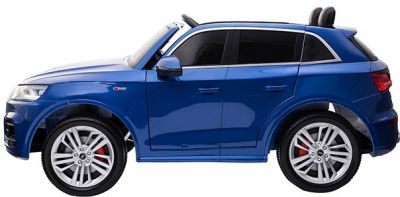 Accu Auto Audi Q5 Blauw Metallic MP4 TV-Scherm 4X4 2 Persoons Rubber Banden-1