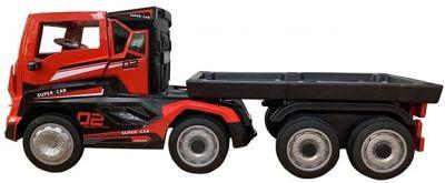 Elektrische kindervrachtwagen 12V met Trailer Rood Rubber Banden 2,4G