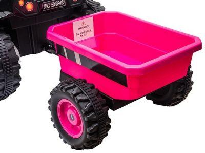 Accu Tractor met aanhanger 12V Roze 2,4G-3