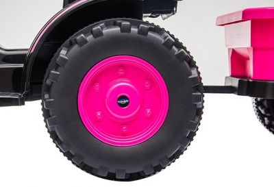 Accu Tractor met aanhanger 12V Roze 2,4G-4