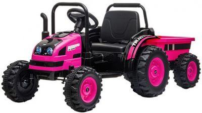 Accu Tractor met aanhanger 12V Roze 2,4G