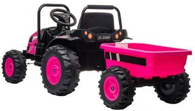 Accu Tractor met aanhanger 12V Roze 2,4G-2
