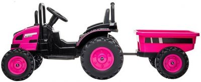 Accu Tractor met aanhanger 12V Roze 2,4G-1