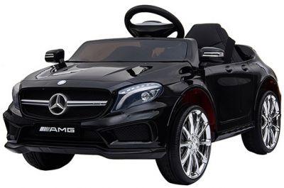 Accu Auto Mercedes GLA45 AMG Zwart 12V 2,4G Lederen Stoel Rubber Banden
