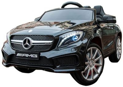 Accu Auto Mercedes GLA45 AMG Zwart Metallic 12V 2,4G Lederen Stoel Rubber Banden