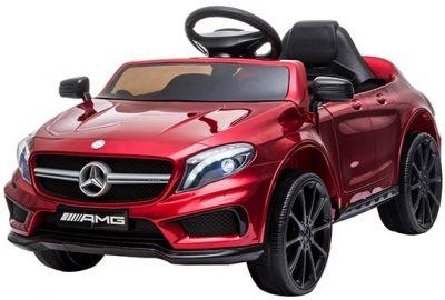 Accu Auto Mercedes GLA45 AMG Rood Metallic 12V 2,4G Lederen Stoel Rubber Banden