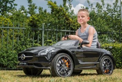 Accu Auto Mercedes SLS AMG Zwart Metallic 12V MP4-TV Rubber Banden-6