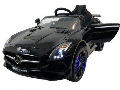 Accu Auto Mercedes SLS AMG Zwart Metallic 12V MP4-TV Rubber Banden