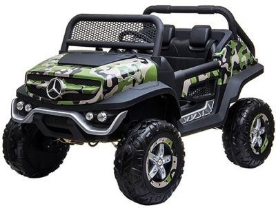 Accu Auto Mercedes Unimog 4X4 MP4-TV Camouflage 2 Persoons Rubber Banden
