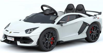 Accu Auto Lamborghini Aventador SVJ 12V Wit 2,4G Lederen Stoel