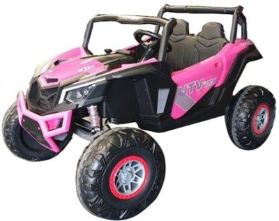 Accu Auto Mega Buggy 4X4 24V 2 Persoons Roze MP4 Rubber Band-5