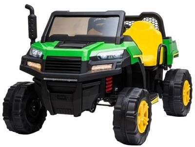 Accu Auto Truggy 4X4 Groen-Geel 12V 2-persoons Rubber Banden